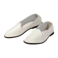 Тапочки кожаные белые/черные
